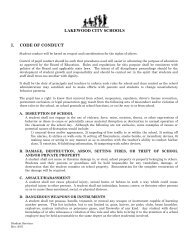Student Code of Conduct - Lakewood City Schools