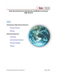 Ohio Revised Science Standards and Model Curriculum High School