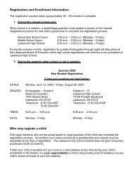 Registration & Enrollment - Lakewood City Schools