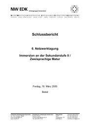 Immersion an der Sekundarstufe II / Zweisprachige Matur