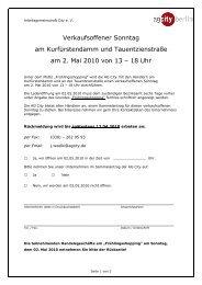 AG City - Planung verkaufsoffener Sonntag 02.05.2010
