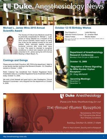 October 12, 2009 - Department of Anesthesiology - Duke University