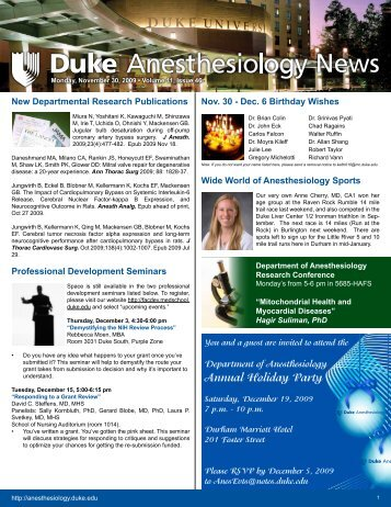 November 30, 2009 - Department of Anesthesiology - Duke University
