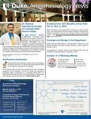 October 11, 2010 - Department of Anesthesiology - Duke University
