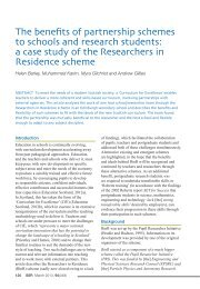 The benefits of partnership schemes to schools and research ...