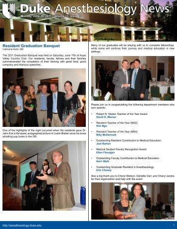 June 20, 2011 - Department of Anesthesiology - Duke University