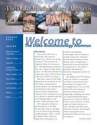 Duke Anesthesiology Alumnus Magazine Summer 03' Premier Issue!