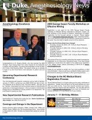 January 5, 2009 - Department of Anesthesiology - Duke University