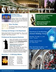 December 7, 2009 - Department of Anesthesiology - Duke University