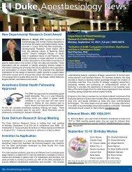September 12, 2011 - Department of Anesthesiology - Duke University