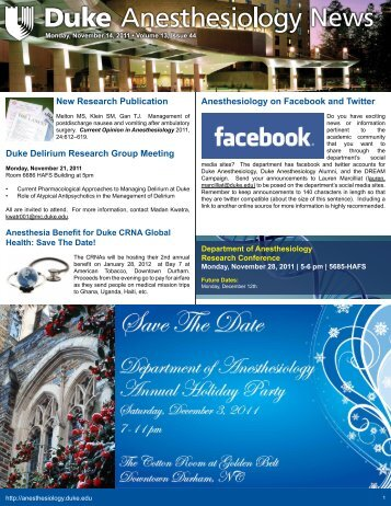 November 14, 2011 - Department of Anesthesiology - Duke University