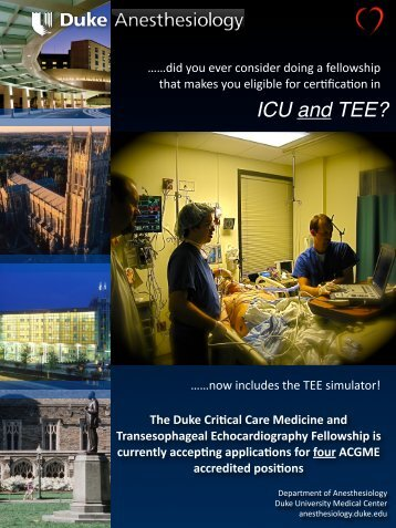 Critical Care Medicine - Department of Anesthesiology - Duke ...