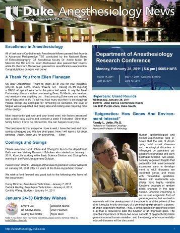 January 24, 2011 - Department of Anesthesiology - Duke University