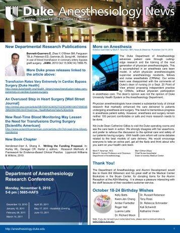 October 19, 2010 - Department of Anesthesiology - Duke University