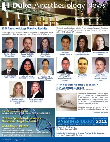 March 21, 2011 - Department of Anesthesiology - Duke University