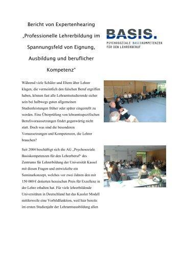 Bericht von Expertenhearing ?Professionelle Lehrerbildung im ...
