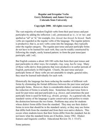 Regular and Irregular Verbs - Lamar at Colorado State University