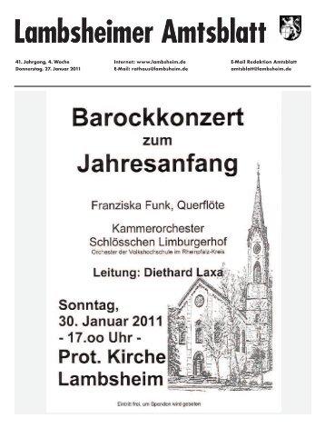 41. Jahrgang, 4. Woche Internet: www.lambsheim.de E-Mail ...