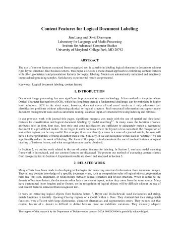 Content Features for Logical Document Labeling - University of ...