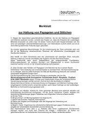 Haltung von Papageien und Sittichen - Landkreis Bautzen