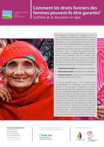 Comment les droits fonciers des femmes peuvent-ils être garantis?
