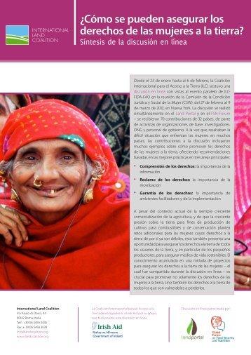 ¿Cómo se pueden asegurar los derechos de las mujeres a la tierra?