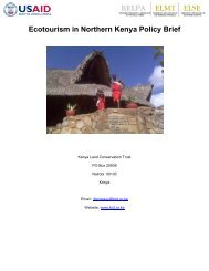 Ecotourism in Northern Kenya Policy Brief - Disaster risk reduction