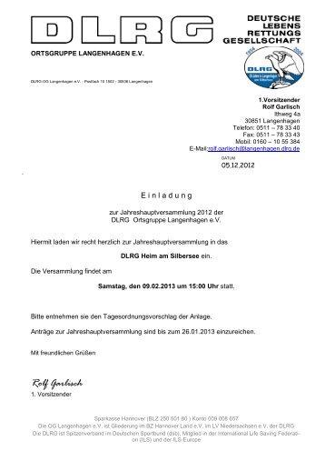 Einladung Jahreshauptversammlung - DLRG Ortsgruppe ...