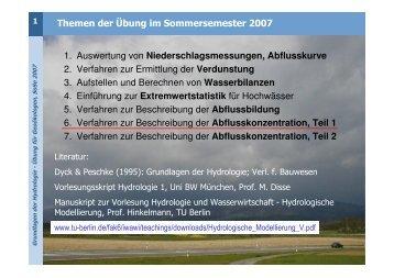 Themen der Übung im Sommersemester 2007 1. Auswertung von ...