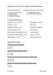 H. Elsenbeer Bodenkunde 1 Beziehungen zwischen Volumen und ...