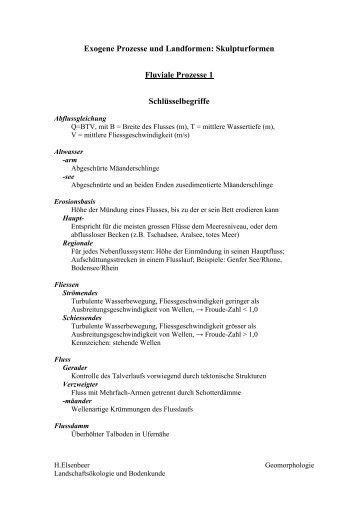 Exogene Prozesse und Landformen: Skulpturformen Fluviale ...