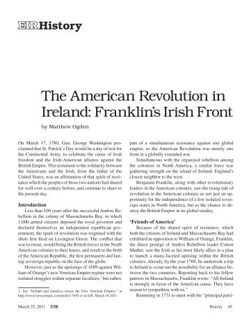 The American Revolution in Ireland: Franklin's Irish Front