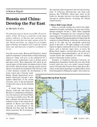 A Status Report: Russia and China: Develop the Far East