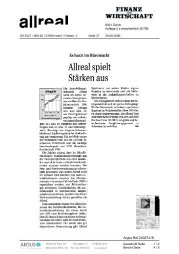 Allreal in den Medien - Allreal spielt Stärken aus