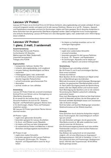 Lascaux UV Protect Lascaux UV Protect 1 glanz, 2 matt, 3 seidenmatt