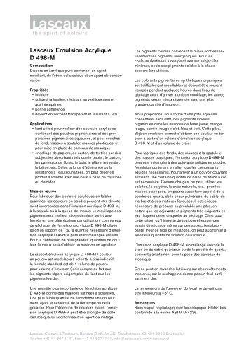 Lascaux Emulsion Acrylique D 498-M - Lascaux Colours & Restauro