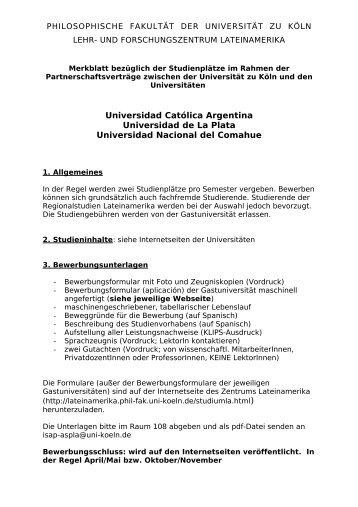 merkblatt studienpltze zentrum lateinamerika universitt zu kln - Universitat Koln Bewerbung