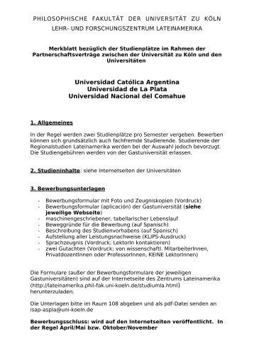 merkblatt studienpltze zentrum lateinamerika universitt zu kln - Uni Koln Bewerbung