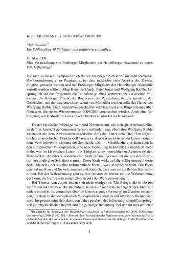 """""""Information."""" Ein Schlüsselbegriff für Natur- und ..."""