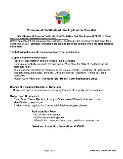 Commercial Certificate of Use Application - City of Lauderhill