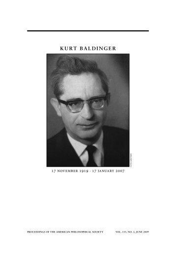 KURT BALDINGER - American Philosophical Society