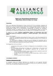 l'Alliance AgriCongo - La voix du paysan congolais