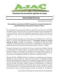 Association des Journalistes Agricoles du Congo Communiqué de ...