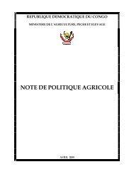 Note de Politique Agricole - La voix du paysan congolais