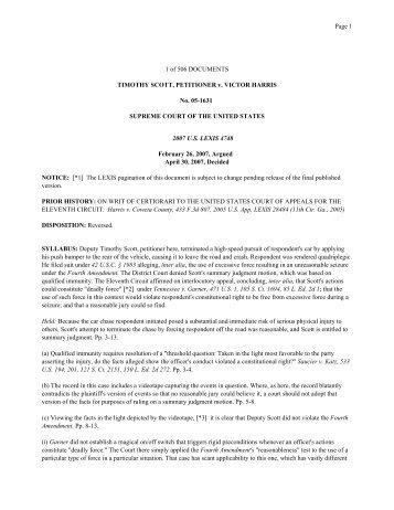 1 of 506 DOCUMENTS TIMOTHY SCOTT, PETITIONER v. VICTOR ...