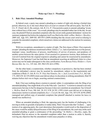 Make-up Class 1: Pleadings I. Rule 15(a): Amended Pleadings In ...