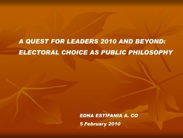 a quest for leaders 2010 and beyond: electoral choice as public ...