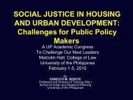 Social Justice in Housing and Urban Development - University of the ...