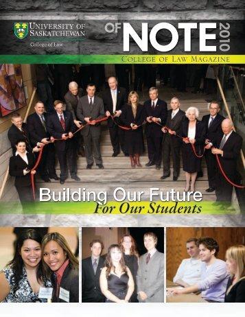 2010 of NOTE - College of Law - University of Saskatchewan