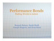 Performance Bonds - Student Projects